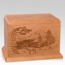 Elk Companion Cherry Wood Urn