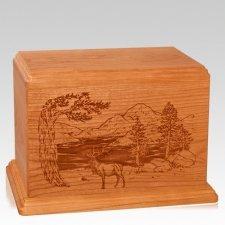 Elk Companion Mahogany Wood Urn