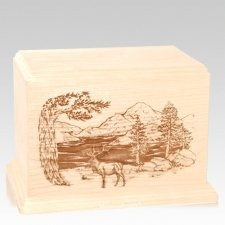 Elk Companion Maple Wood Urn