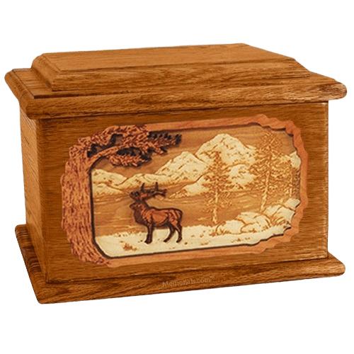 Elk Mahogany Memory Chest Cremation Urn