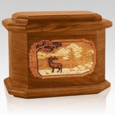 Elk Mahogany Octagon Cremation Urn