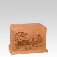 Elk Small Cherry Wood Urn
