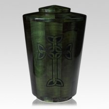 Emerald Celtic Cross Wood Urn