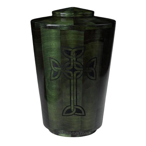 Emerald Celtic Cross Wood Urn