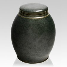 Emerald Glow Ceramic Urn