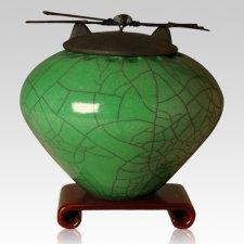 Raku Emerald Multi Family Cremation Urn