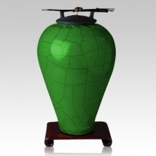 Raku Tall Emerald Companion Cremation Urn