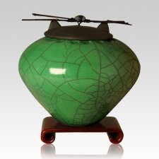 Raku Emerald Extra Large Cremation Urn