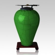 Raku Tall Emerald Cremation Urn