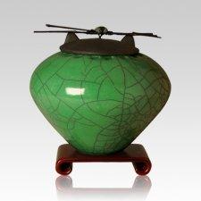 Raku Emerald Large Cremation Urn