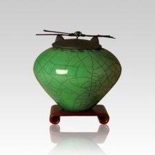 Raku Emerald Small Cremation Urn