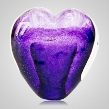 Eternal Purple Cremation Ash Glass Heart