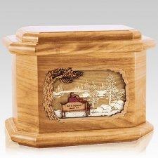 Eternally Oak Octagon Cremation Urn