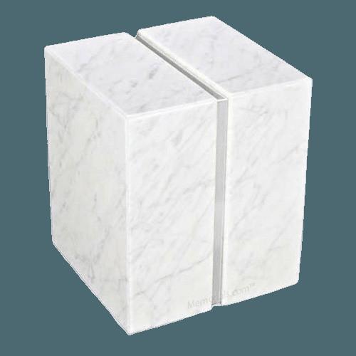 Eternitas Silver Bianco Marble Companion Urn