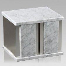 Ethinity Silver Bianco Marble Companion Urn
