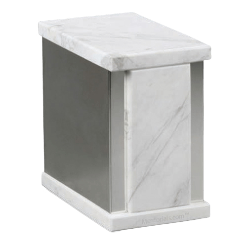 Ethinity Silver Bianco Marble Cremation Urn