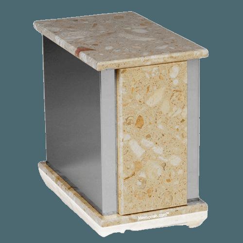 Ethinity Silver Perlato Marble Urn