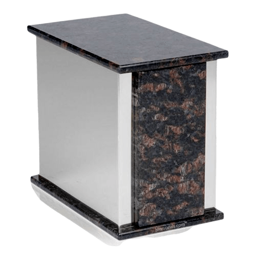 Ethinity Silver Tan Brown Granite Urn