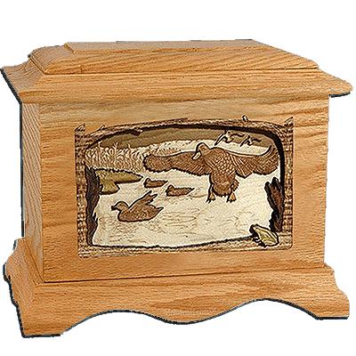 Flying Ducks Oak Cremation Urn For Two
