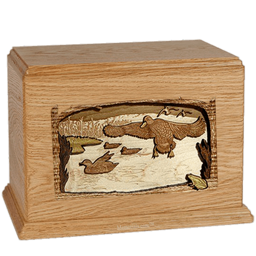 Flying Ducks Oak Companion Urn