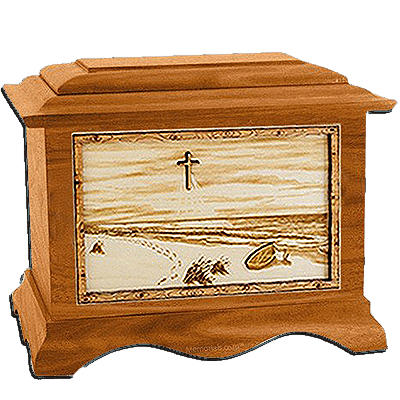 Footprints Mahogany Cremation Urn for Two