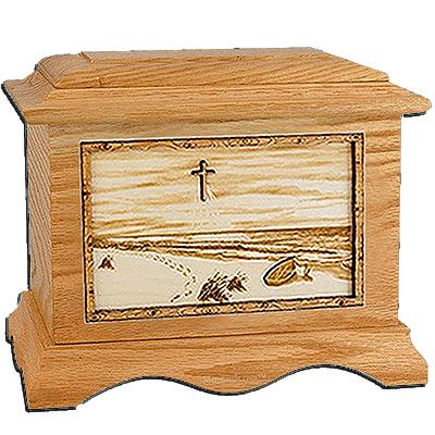 Footprints Oak Cremation Urn for Two