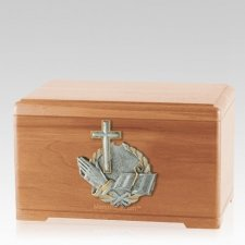 Faith Prayer Light Cherry Cremation Urn