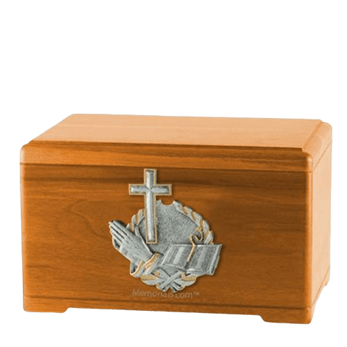 Faith Prayer Oak Cremation Urn