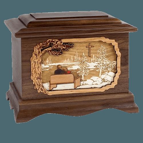 Faithful Oak Octagon Cremation Urn