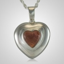 February Cremation Heart Pendant