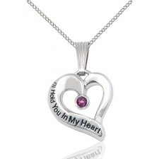 February White Gold Heart Keepsake