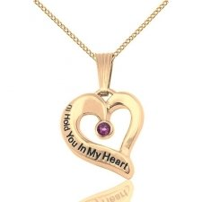 February Yellow Gold Heart Keepsake