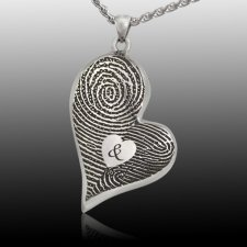 Fidelity Heart 14k White Gold Cremation Print Keepsake
