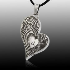 Fidelity Heart Stainless Cremation Print Keepsake