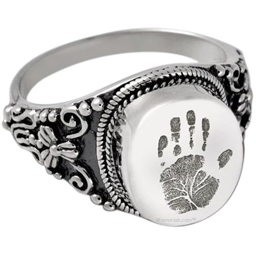 Filigree 14k White Gold Cremation Print Ring