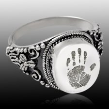 Filigree Sterling Cremation Print Ring
