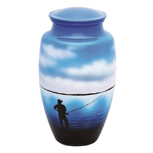 Fisherman Metal Cremation Urn