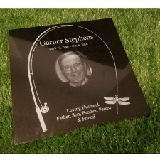 Fishing Rod Granite Memorial Stone