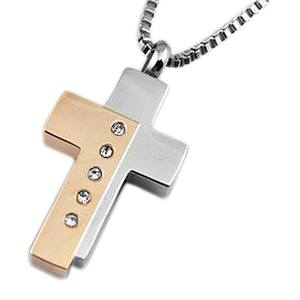 Five Crystal Cross Cremation Jewelry