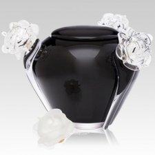 Fleur Noir Glass Cremation Urn