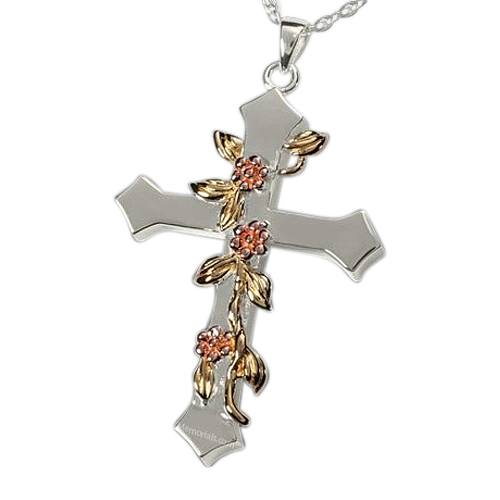 Floral Cross Cremation Pendant III
