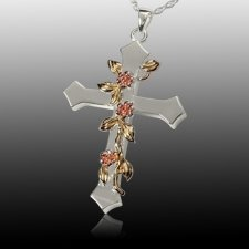 Floral Cross Cremation Pendant