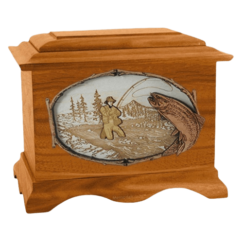 Fly Fishing Mahogany Cremation Urn