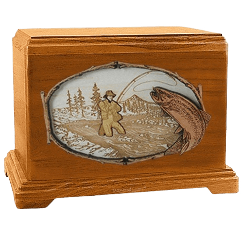 Fly Fishing Mahogany Hampton Cremation Urn