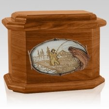 Fly Fishing Mahogany Octagon Cremation Urn