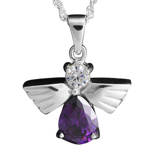 Flying Angel Amethyst Cremation Pendant III