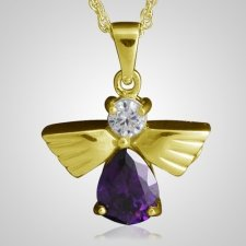 Flying Angel Amethyst Cremation Pendant IV