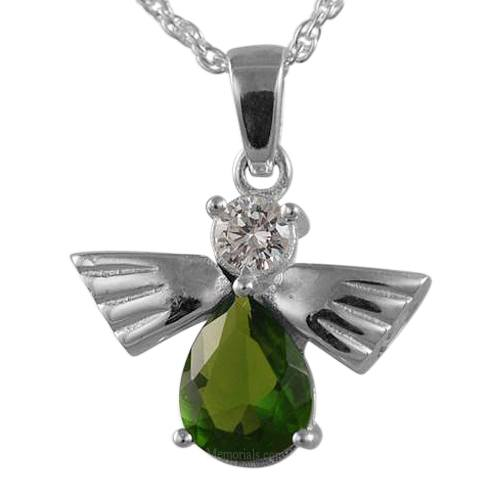 Flying Angel Emerald Cremation Pendant