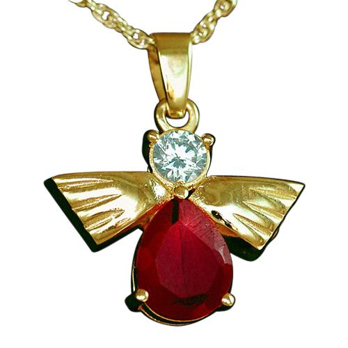 Flying Angel Ruby Cremation Pendant IV