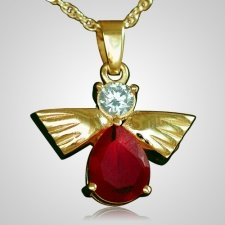 Flying Angel Ruby Cremation Pendant II